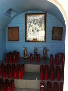 One of the side areas of his shrine where one can light candles.