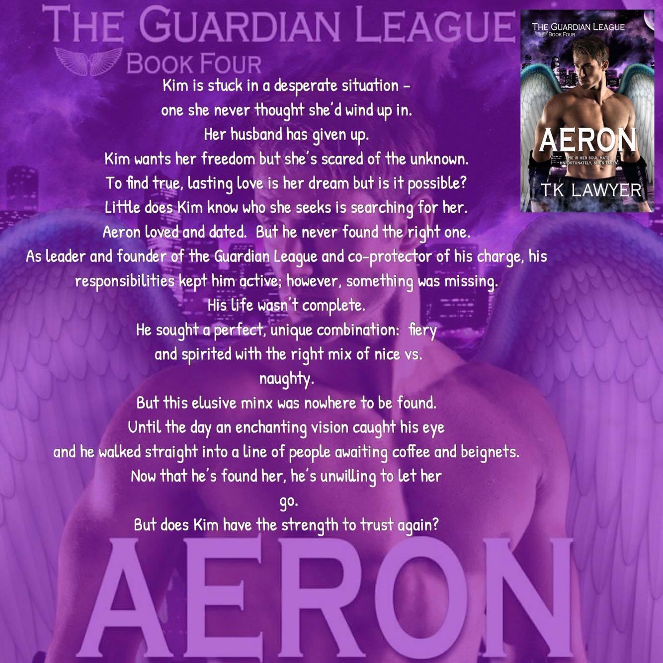 Aeron with Book Blurb- Purple Background